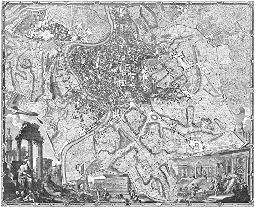 """18th Century 1748 Map of Rome, Italy Engraving by Giambattista Nolli 25.5"""" x30.5 Black & White"""