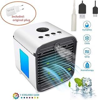 Aire Acondicionado Portátil Mini Cooler Móvil Enfriador Mini Climatizador Evaporativo,3 en 1 Ventilador Humidificador Purificador de Aire Personal USB Adaptador [Sin Freón] para Casa/Oficina (blanco)