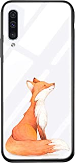 AIsoar Compatible with Galaxy A20/Galaxy A30 Tempered Glass Case,Clear Pattern Glass Cover + Soft TPU Silicone Rubber Gel Shockproof Bumper [Anti-Yellow] Transparent Protective Cover (Fox)