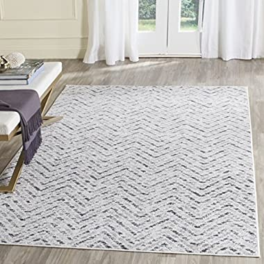 Safavieh Adirondack Collection ADR104N Ivory and Charcoal Modern Distressed Chevron Area Rug (6' x 9')