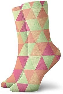 tyui7, Patrón geométrico abstracto del triángulo Colores verdes y rosados Calcetines de compresión antideslizantes Calcetines deportivos de 30 cm acogedores para hombres, mujeres, niños