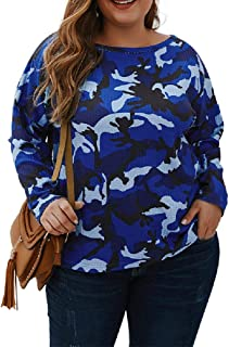 Howely Women's Round Neck Pullover Camouflage Plus Size Casual Blouse Tops