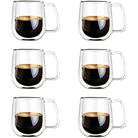 Vicloon Double Paroi Verre à Café,Tasses en Verre Borosilicate,pour Thé,Café,Lattes,Cappuccino,Espresso,Bière,250 ml (normal-6pcs)
