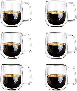 Vicloon Double Paroi Verre à Café,Tasses en Verre Borosilicate,pour Thé,Café,Lattes,Cappuccino,Espresso,Bière,250 ml (norm...