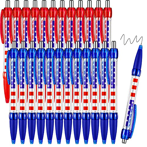 24 Pieces Patriotic Day Ballpoint Pen with American Flag Print, Stars and Stripes Retractable Pens, Desk Accessories for Note Taking, American President Election, 4th of July (Black Ink, 0.7 mm)