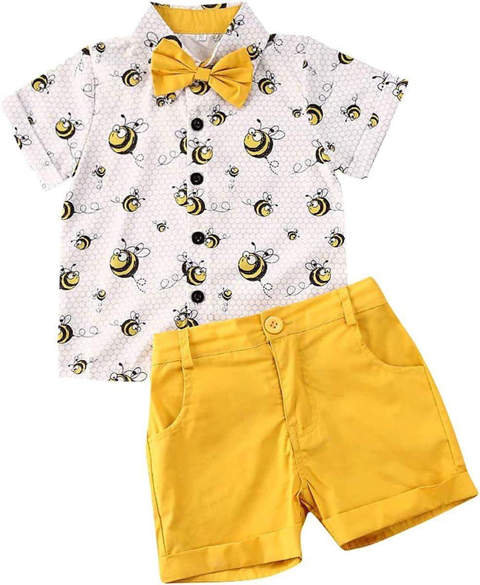 Toddler Kids Baby Boy Summer Floral Shirt Blouse Top + Bermuda Shorts 2Pcs Outfit Sets