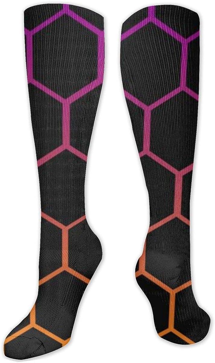 Purple And Orange Hexagon Knee High Socks Leg Warmer Dresses Long Boot Stockings For Womens Cosplay Daily Wear