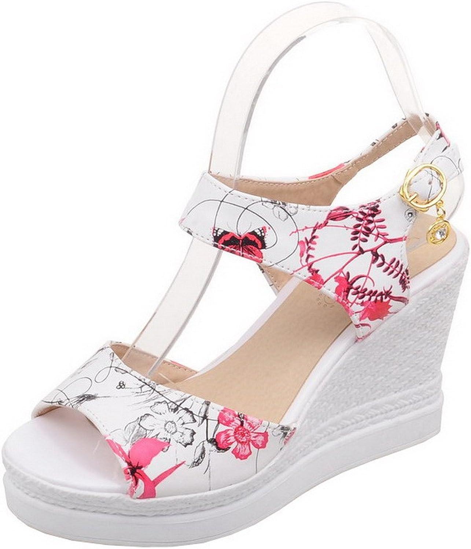 AllhqFashion Women's Open-Toe High-Heels Pu Assorted color Sandals, FBULC012692