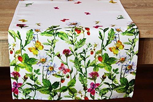 Kamaca Serie WIESENBLUMEN UND Schmetterlinge hochwertiges Druck-Motiv mit Blumen EIN Eyecatcher in Frühling Sommer (Tischläufer 40x90 cm)