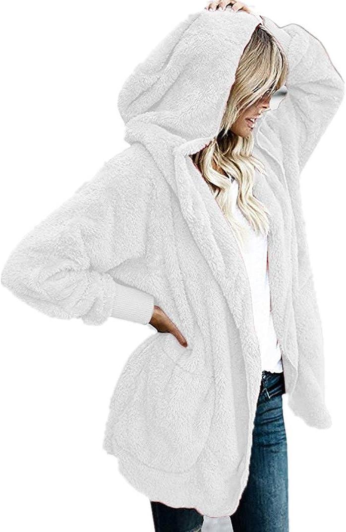 Fastbot women's Cozy Pocketed Cardigan Open Front Hooded Jacket Shearling Coats Warm Sherpa Fuzzy Fleece Outwear