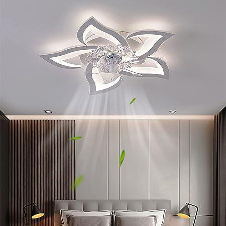 Plafonnier avec Ventilateur de Plafond Silencieux Plafonniers LED Modernes à Intensité Variable, Lampe de Ventilateur Design Créatif à 5 Lampes (C-69)
