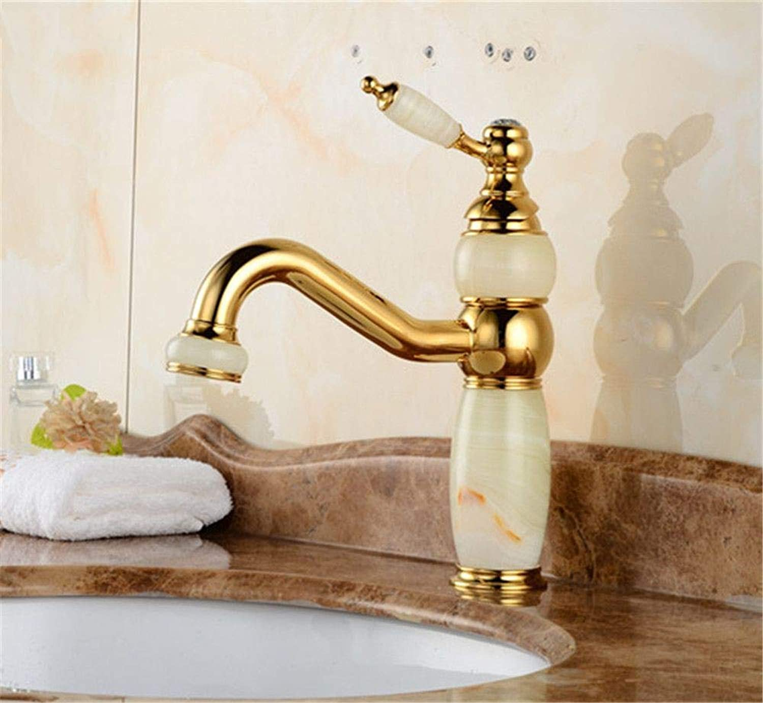 YAWEDA Natural Jade Basin Faucet Bathroom Sink Faucet gold-Plated Single-Hole Hot and Cold Water Mixer Hotel Bathroom Faucet Single Handle with Aerator Single-Joint