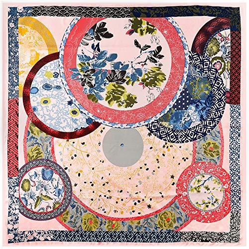 Damen Dschungel Blume Und Vogel Druck Seidenschal Großen Quadratischen Schal, Twill Seidenschal Schal