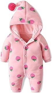 Minizone Baby Strampler mit Kapuze Baumwolle Overall Outfits Mädchen Pyjamas Jumpsuit Bodys Langarm Outwear 0-18 Monate Erdbeer-Muster