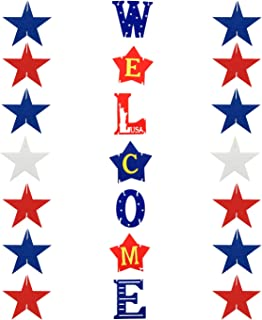 4th of July Decorations Front Door Welcome Sign - Memorial Day Decorations Independence Day Decorations Outdoor Hanging Letters Signs Patriotic Elements