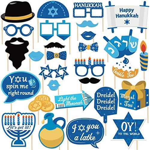 29Pcs Hanukkah Photo Booth Props Happy Hanukkah Party Decorations Chanukah Party Favor for Holiday Party, Blue Illumination Party Supplies