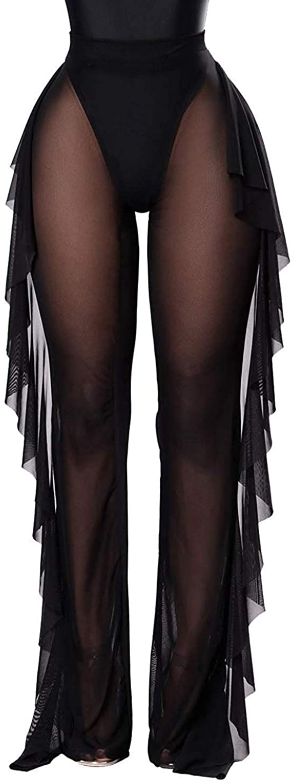 Willow Dance Women's Perspective Sheer Mesh Ruffle Pants Swimsuit Bikini Bottom Cover up Pants