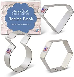 Ann Clark Cookie Cutters 3-Piece Gems and Jewels Cookie Cutter Set with Recipe Booklet, Ring, Gem and Gemstone