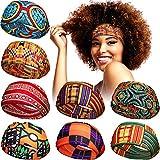 8 Pieces African Headband Yoga Sports Workout Hairband Stretchy Boho Print Head Band Elastic Turban Headwrap Head Wear for Women Girls Hair Accessories (Classic Pattern)