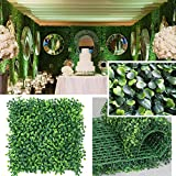 Realistic & Thick Artificial Hedge Boxwood Fence Privacy Screen Panels, UV Protection Fresh Faux Foliage Backdrop Wall Decor for Indoor Outdoor, 20 Pack