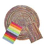 Alfombra Yute Multicolor Redonda (Ø 120 cm.) Pack alfombras de Yute Circular + Rectangular + Jarapa de la Alpujarra, Tejidas a Mano - Salón, Cocina, Dormitorio, Pasillo, jardín
