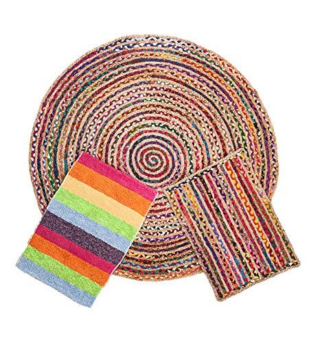 Alfombra Yute Multicolor Redonda (Ø 120 cm.) Pack alfombras de Yute Circular + Rectangular + Jarapa de la Alpujarra, Tejidas...