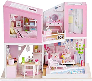 DIY Dollhouse Kit with Dustproof Cover, with Music Movement, Wooden Mini House Set, 1:24 Scale Creative Room Idea, with Wo...