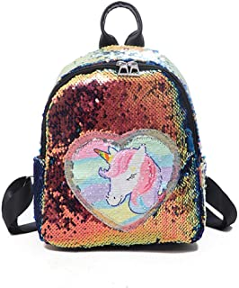 Sequin Backpack for Girls, Hamkaw Cute Kids Flip Glitter School Bookbag, Toddler School Class Lightweight Travel Backpack