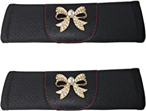 Masteel 1 Pair Black Leather Gold Plated Bling Bling Fashion Bow Tie Crystal Charm Car SUV Interior Accessories Safety Seat Belt Shoulder Strap Pad Soft Headrest Neck Support Cover Over Car Seat