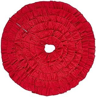 JBENG 50 Inch Red Burlap Ruffled Xmas Christmas Tree Skirt Christmas Decorations