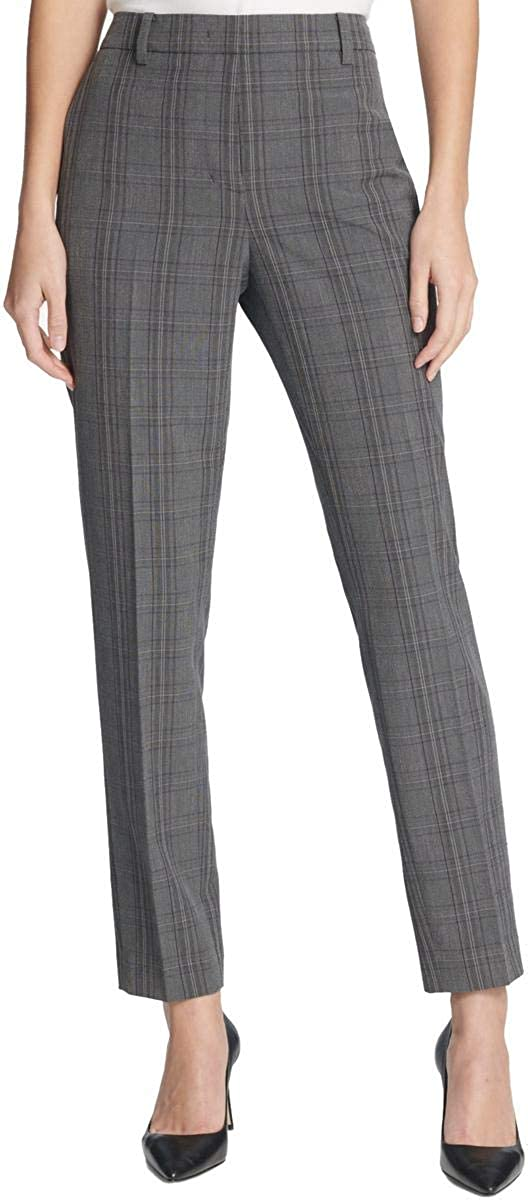 DKNY Womens Gray Check Wear to Work Pants Size 2