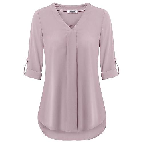 0a9a9bca Youtalia Womens 3/4 Cuffed Sleeve Chiffon Printed V Neck Casual Blouse Shirt  Tops