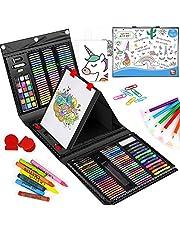 KIDDYCOLOR Juego de 211 piezas de caballete de doble cara, kit portátil de pintura y dibujo para niños con pastel al óleo, ceras, lápices de colores, marcadores, pincel de pintura