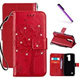 LG K7 Case,LG Tribute 5 Case, LEECOCO Embossed Floral 3D Handmade Bling Crystal Diamonds Butterfly with Card Slots Magnetic Flip Stand PU Leather Wallet Case for LG K8 / K7 Wishing Tree Red