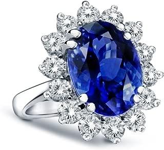 14K White Gold Princess Diana Genuine Diamond & Sapphire Ring, 2.70ctw