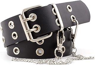 Dreamseeker Double Row Hole Men's and Women's Belt, Fashionable Punk Style Eyelet Chain Decoration Jeans Belt Trousers