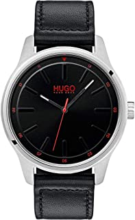 Hugo Boss Men's Black Dial Black Leather Watch - 1530018
