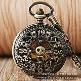 YXDEW Reloj de Bolsillo de la Cadena de la Vendimia, Reloj de Bolsillo Tallado Shantou Tarjetas Huecas Números Romanos Reloj de Bolsillo mecánico automático Reloj de Hombre Punk Retro