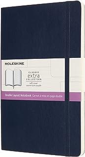 モレスキン ノート クラシックノートブック ダブルレイアウト(無地×横罫) ソフトカバー ラージサイズ サファイアブルー NB313SB20