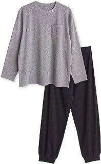 綿100% 長袖 メンズ パジャマ Tシャツ素材 ルームウェア 春 夏 胸ポケット付き
