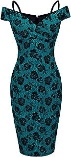 HOMEYEE B309 damska sukienka w stylu vintage, z nadrukiem kwiatowym, długość do kolan, obcisła sukienka