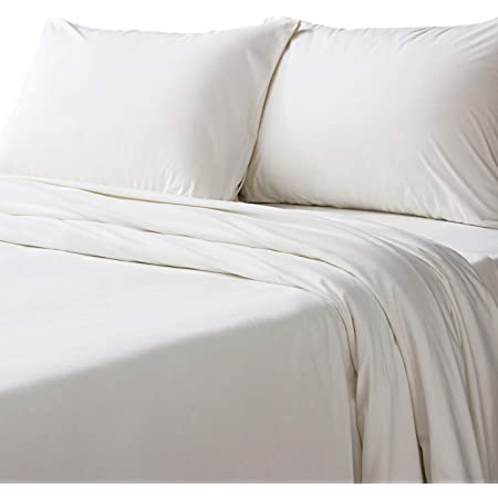 Bedsure Flannel Bed Sheet Set-3 Pieces Set- 160Gram-Fuzzy Fleece Surface- Super Warm Soft Sheets-Deep Pockets Fitted-Twin Size Bed Sheets-Ivory