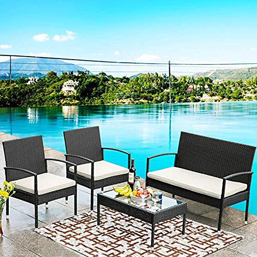 Rhomtree 4 Piece Outdoor Rattan Furniture Set Patio Wicker Sofa Conversation Set with Coffee Table Outdoor Indoor Use Backyard Porch Garden Poolside Balcony (Beige)