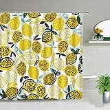 XCBN Sommer Obst Duschvorhang Exotische Gelbe Zitrone Blume Grünes Blatt Muster Wasserdicht Badezimmer Dekor Bad Gardinen A11 90x180cm