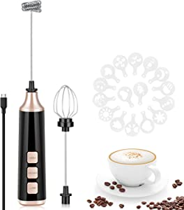 Milk Frother Electric, USB Rechargeable Handheld Milk Foamer, 3-Speed Electric Coffee Foam Maker with Egg Beater Whisk, Mini Blender Drink Mixer Perfect for Matcha Latte Cappuccino Hot Chocolate