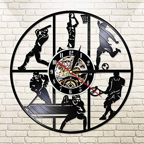 HFWYF 12 Pollici Baseball Basket Calcio Hockey Calcio Palla da Tennis Gioco Orologio da Parete in Vinile Orologio da Parete per Bambini Orologio da Parete Sportivo per Sport