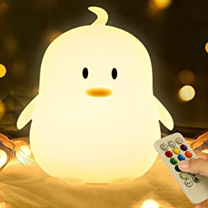 Kids Night Light, Kawaii Cute Birthday Gifts Room Decor Bedroom Decorations for Baby Toddler Girls Children, LED 9 Color Changing Animal Portable Squishy Silicone Lamp - Tap & Remote Control (Penguin)