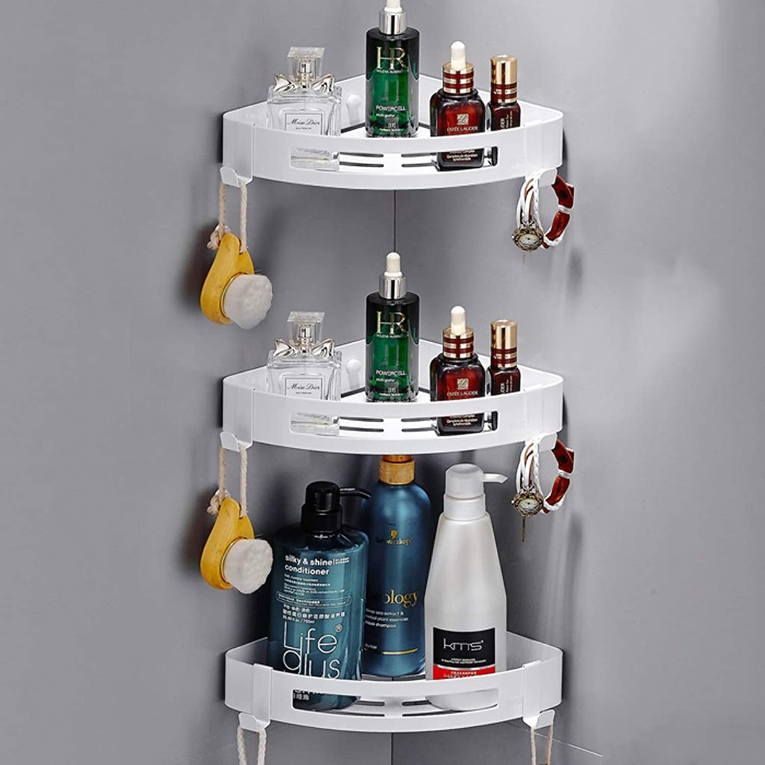 Rack- Unlimited Height Bathroom Shelf, Stainless-Steel Kitchen Shelf, Triangle Basket (color   White, Size   3 Pack)