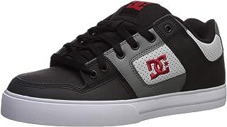 DC Men's Pure Skate Shoe, Black/Grey/red, 9.5 M US