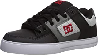 DC Men's Pure Skate Shoe, Black/Grey/red, 10.5 M US